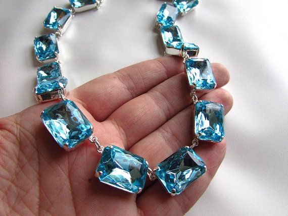 Aquamarine Blue Statement Necklace Anna Wintour by damesalamode