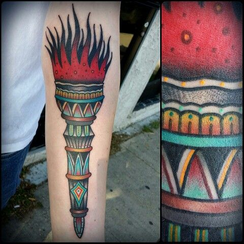 traditional torch tattoo by zack taylor at evermore tattoo in los angeles ca zack taylor 39 s. Black Bedroom Furniture Sets. Home Design Ideas