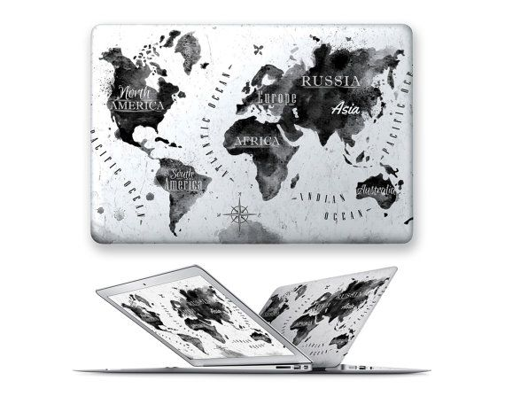 macbook air hard case rubberized front hard cover for apple mac macbook air pro touch bar 11 12 13 15 ink world map