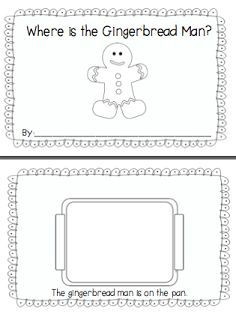 """""""Where is the Gingerbread Man?"""" Positional Words Emergent Reader (free; from Preschool Wonders)"""