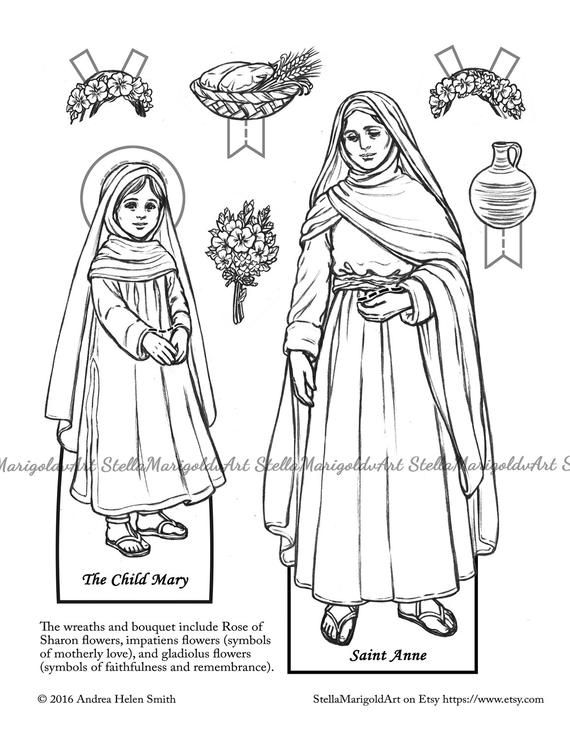 Saint Anne Paper Doll Color And Bnw Paper Dolls St Anne