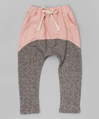 Dark Gray & Pink Harem Pants - Infant, Toddler & Girls