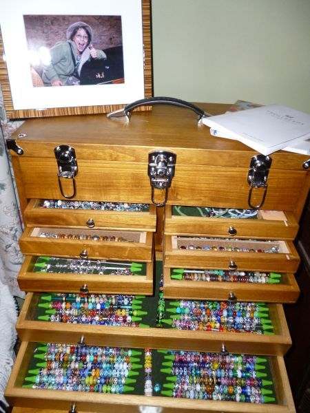 here is a beautiful wood tool box being used as trollbeads storage breathtaking collection. Black Bedroom Furniture Sets. Home Design Ideas