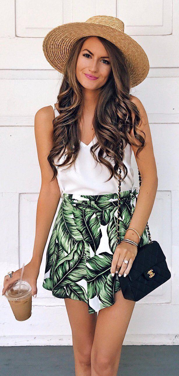 Palm print shorts.