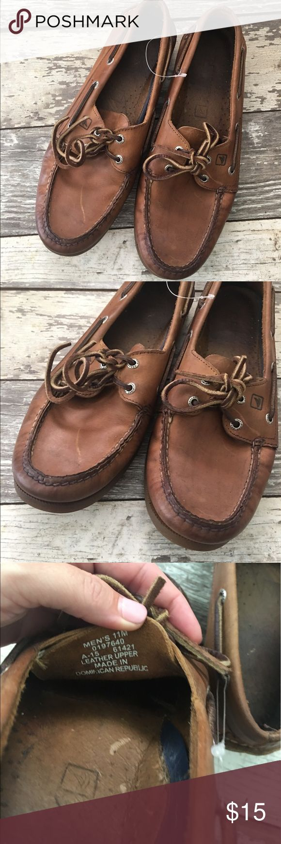 Sperry dock boat deck shoes men's 11 original Sperry boat shoes. Vintage broken in already. Brown leather. Size 11 men's. Sperry Shoes Boat Shoes