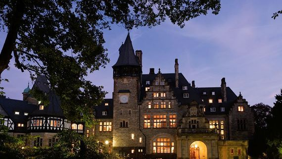 Schlosshotel Kronberg exterior at night