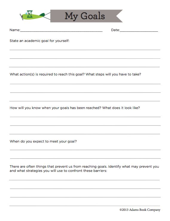 FREE Goal sheet for middle and high school students to identify academic goals and steps to reach them.