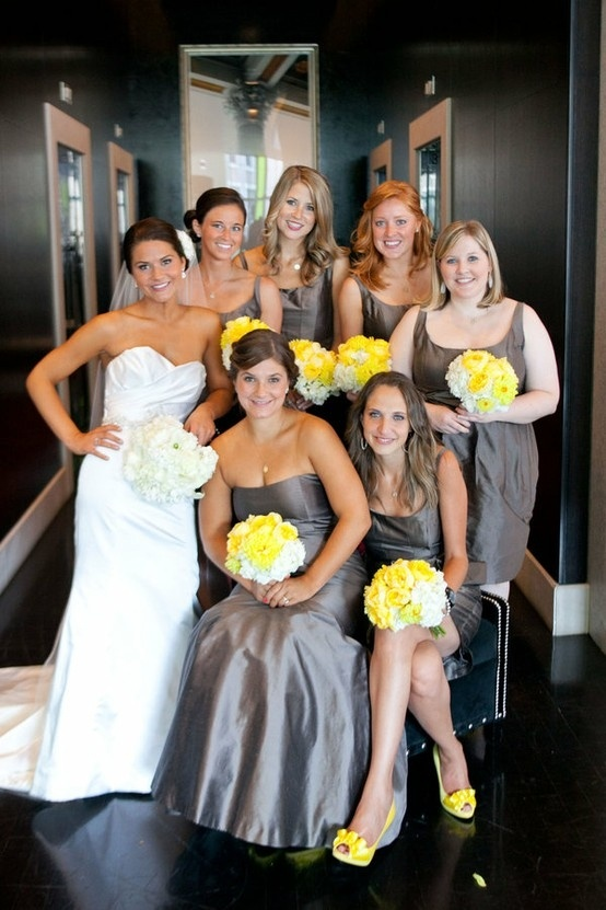 Grey And Yellow Bridesmaids Change To Hot Pink Wedding