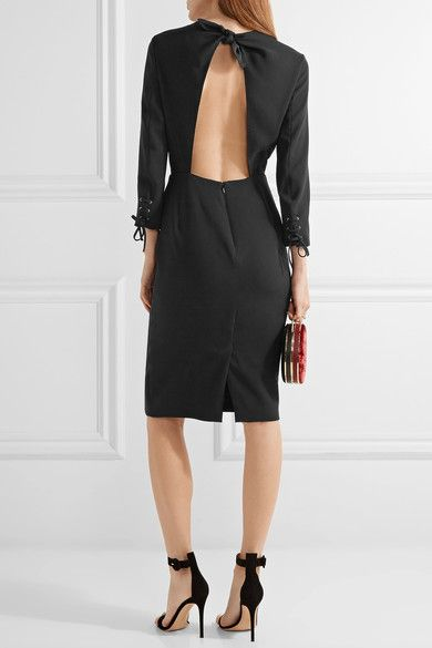 Max Mara - Open-back Crepe Dress - Black - UK16