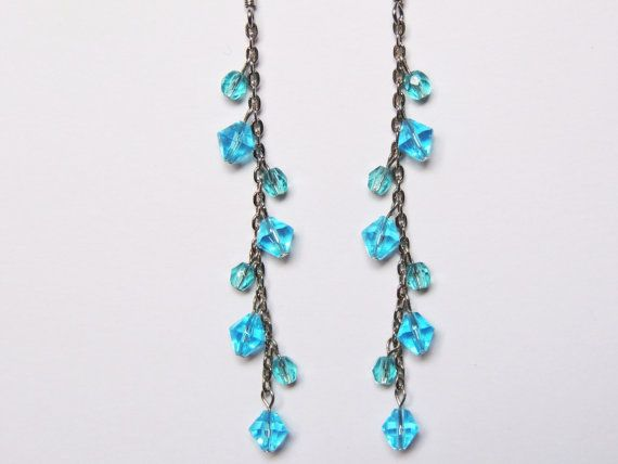 Blue waterfall drop earrings by CathsCraftCreations on Etsy, $10.00
