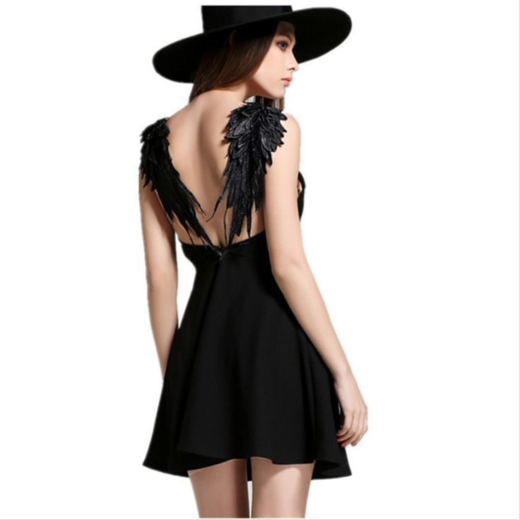 2016 Fashion Black White Party Dress Lace Angel Wings Backless Women Dress Sexy Deep V Little Black Dress A-line Mini Dresses
