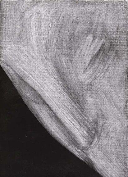 Gino De Dominicis - Senza titolo, 1992, oil and pencil on canvas on cardboard, 18 x 13 cm.