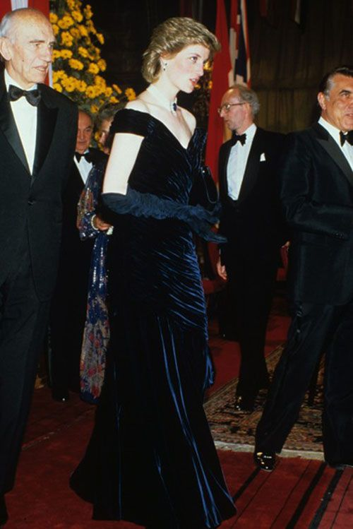 Princess Diana in a Victor Edelstein dress