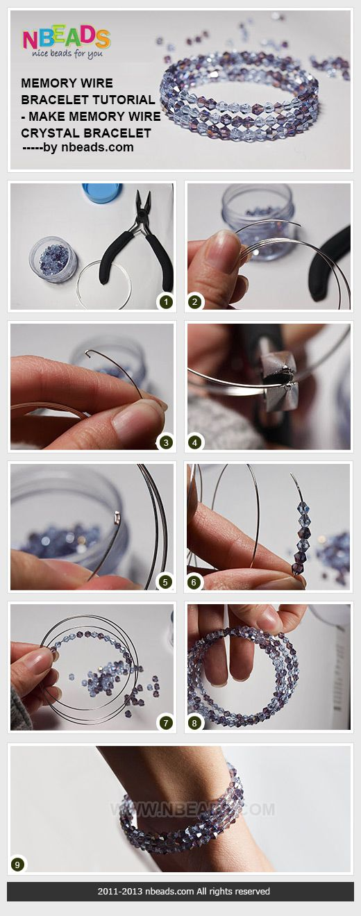 memory wire bracelet tutorial - make memory wire crystal bracelet