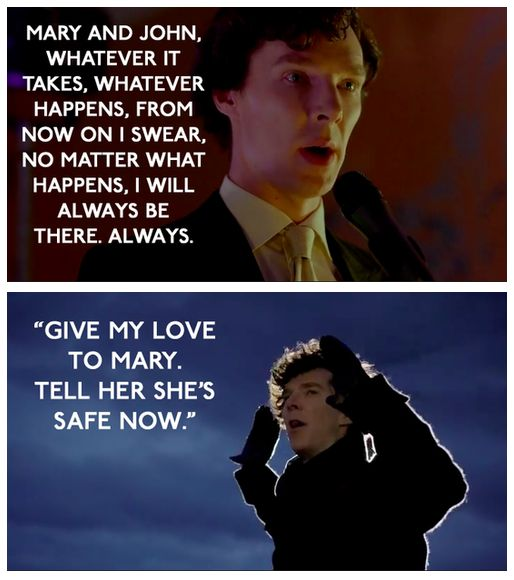 "❦ The title of this episode, ""His Last Vow"" is a play on the Sherlock story ""His Last Bow."" But, of course, it's also a reference to the speech Sherlock made in last week's episode which started like this: ""I've never made a vow in my life and after tonight I never will again so here in front of you all I make my first and last vow""…. And he kept it, didn't he?"
