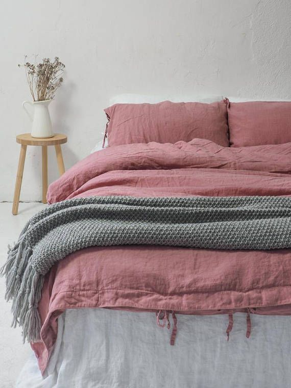 Create Your Fabulous Stonewashed Linen Bedding Set With This Dusty Pink Linen Duvet Cover With Tie Closure Duvet Bedding Sets Bed Linen Sets Pink Duvet Cover