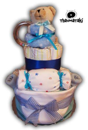 Άλλο ένα κλασικό, αγαπημένο γαλάζιο thavmataki, που περιλαμβάνει περίπου 25 πάνες εσωτερικά, ένα σετάκι με κορμάκι-σαλιάρα-καλτσάκια, ένα σεντονάκι-πάνα αγκαλιάς, και ένα αρκουδάκι-κουδουνίστρα. Τιμή 30€