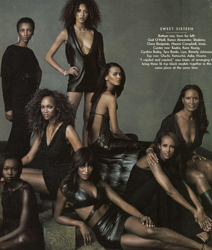 """Women in Black"" x Vanity Fair x September 2001Clara Benjamin, Tyra Banks, Adia, Noemie Lenoir, Liya Kebede, Naomi Campbell, Iman Abdulmajid & Beverly Johnson Photography by Annie Leibovitz"