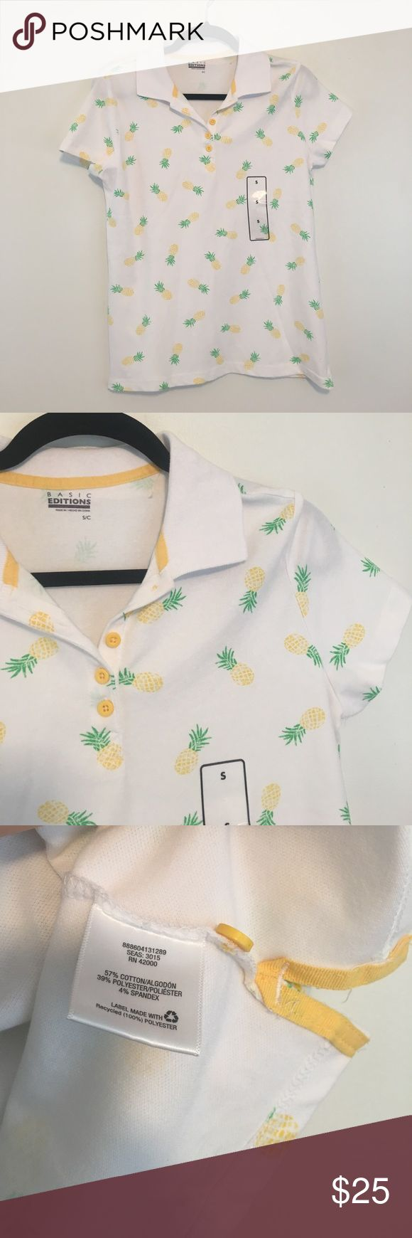 """Pineapple Print Polo Pullover Summer Fun Quirky Tuck into cargo shorts and have a blast! Bust is about 18"""" and length about 24"""" -----  About: No trades. Ships in 2 business days or less. All flaws stated in description. Basic Editions Tops Blouses"""