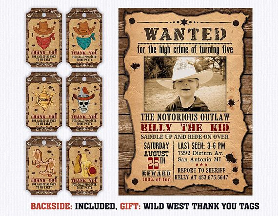 Western Wanted Reward Poster Sign with Photo Slot Cowboy Cowgirl Party Favor