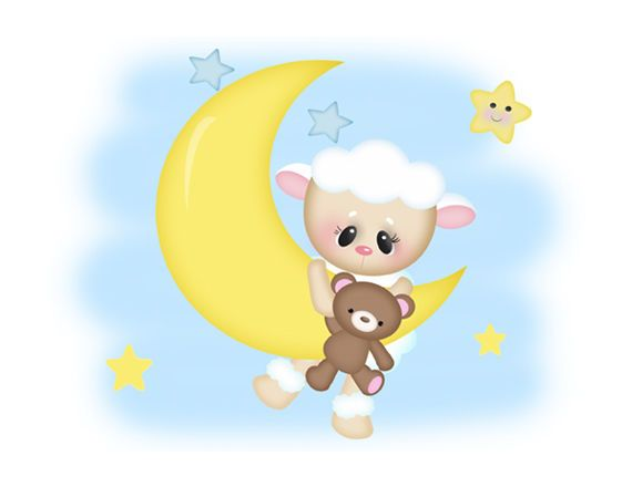 Sheep Lamb Wall Mural Art Decals Star Moon Farm Animals Teddy Bear Nursery Decor #decampstudios