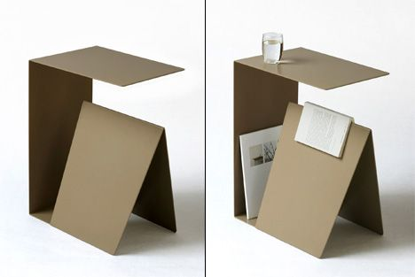 """Designer Stephane de Sousa's produced a prototype """"minimalist bedside table"""" with """"a waterproof surface, bookshelf, and a simple way to remember where you left off on last night's reading."""" It's the last one that really gets me here."""