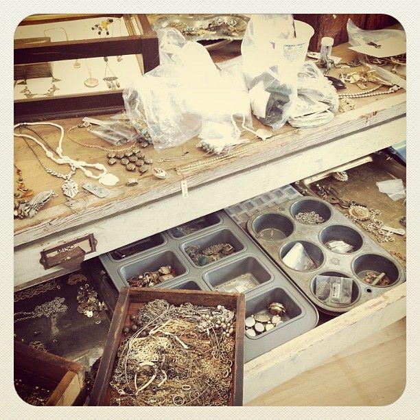 baking tins to organize jewelry making supplies via @Beth Giles