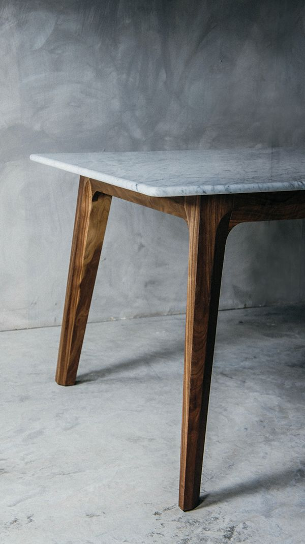 Walnut Table Design By Luis Luna For Namuh, Idea: Marble Top And Wood Base,  Might Make A Visual Impact Agains Your Green Marble