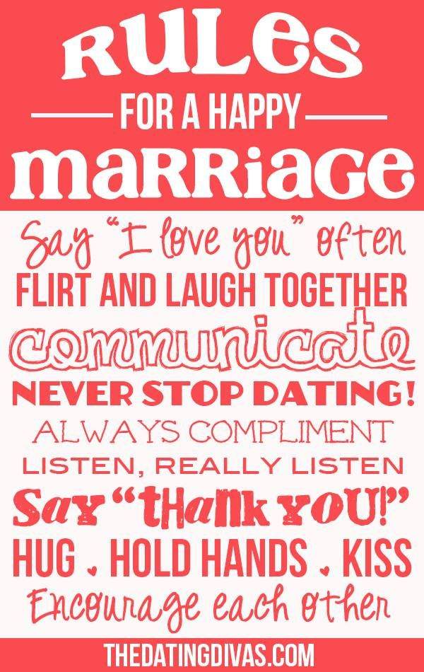 Rules for a happy marriage!  What would you add to the list?