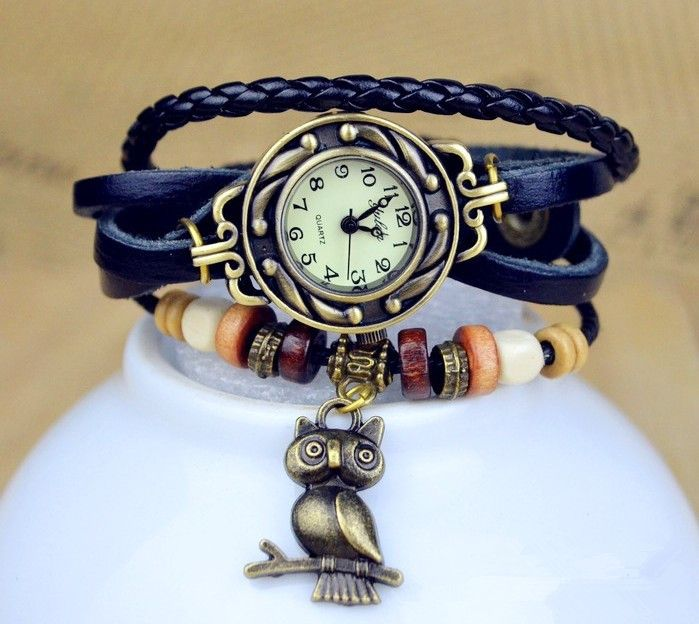 Cow Leather Strap Casual Watch Women Dress Watches Owl Pendant Vintage Quartz Analog watch Free shipping-in Wristwatches from Watches on Aliexpress.com