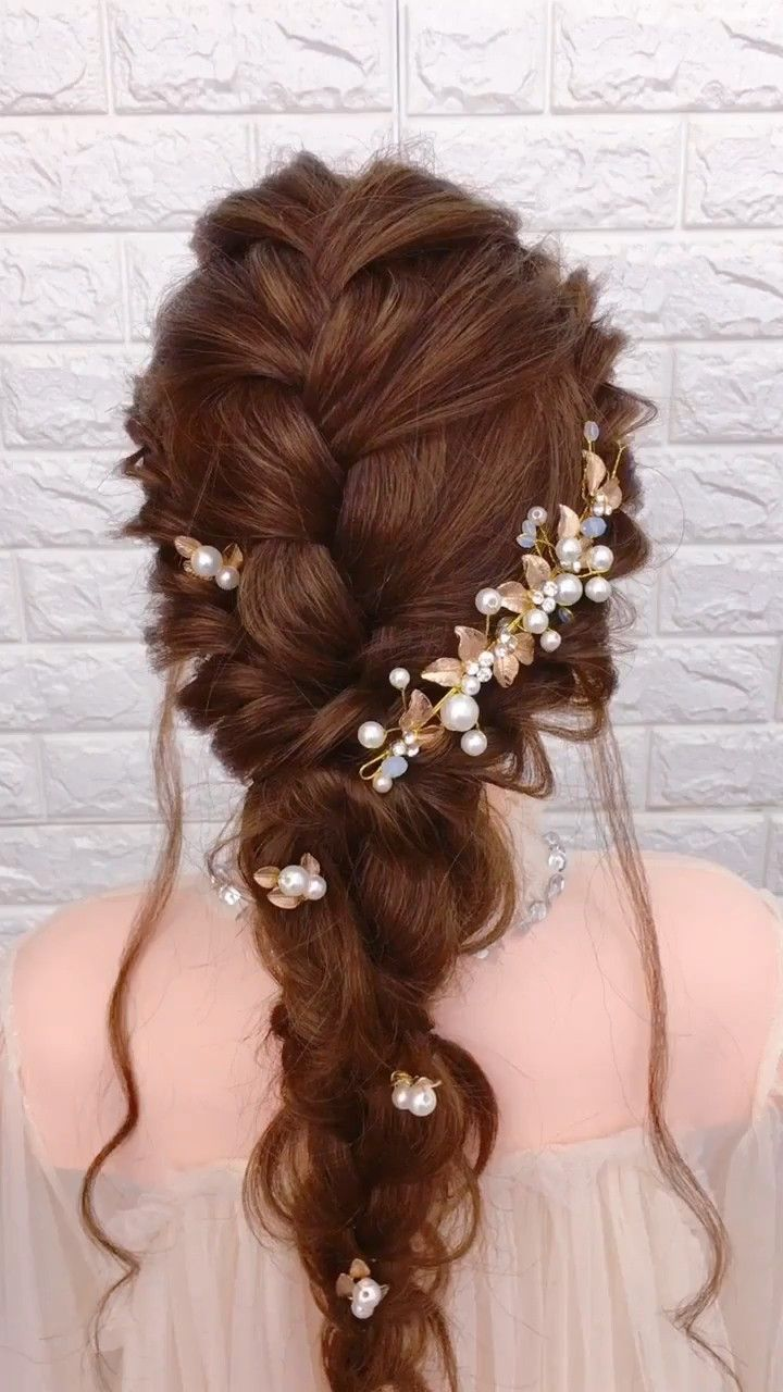 bride hair design idea video in 2019 | braided hairstyles