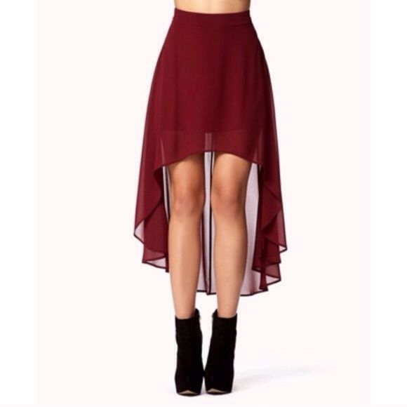 Burgundy Hi Low Skirt Worn a few times. Size small. High-low chiffon skirt in burgundy. Forever 21 Skirts High Low