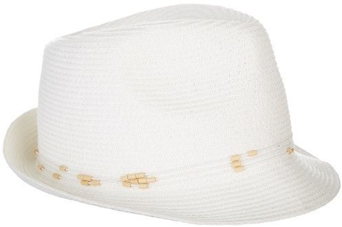 Nine West Womens Packable White Fedora Hat One Size White