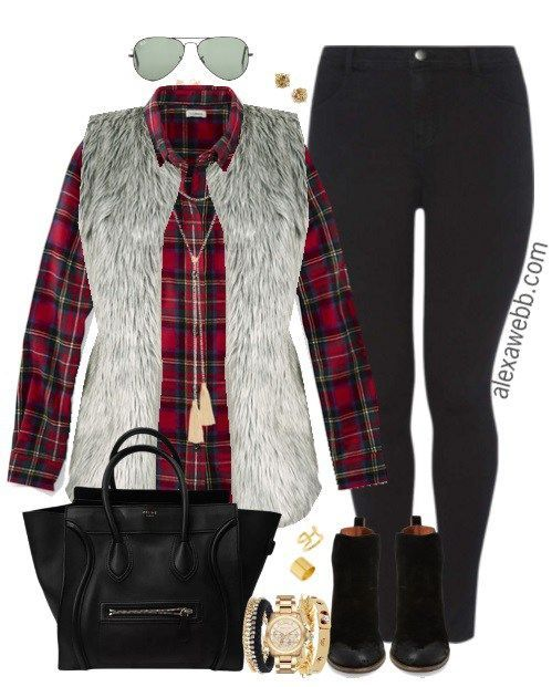 Plus Size Fur Vest Outfit - Plus Size Fashion - alexawebb.com #alexawebb