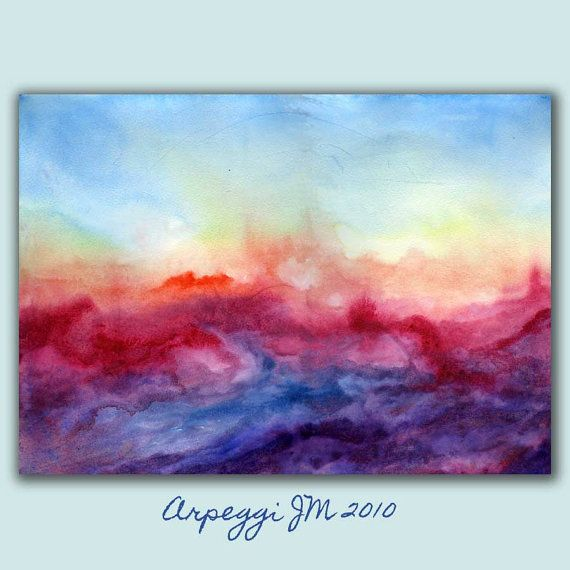 Abstract Watercolor Colorful Dreamy Art Print light by RoveStudio, $27.00