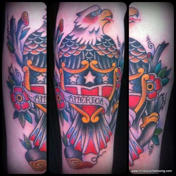 Traditional eagle shield america tattoo by chris for Tattoos in charlotte nc