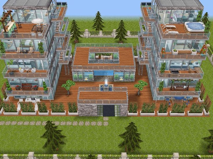 House 95 gated apartments full view #sims #simsfreeplay #simshousedesign