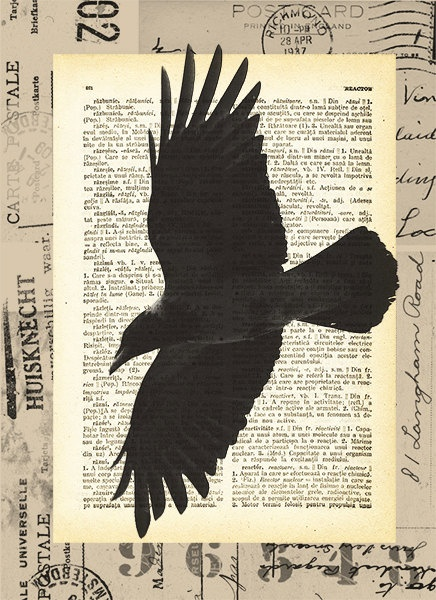 Crow - print vintage dictionary page