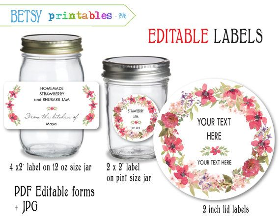 Canning jar editable labels and lid labels - watercolor floral pattern…