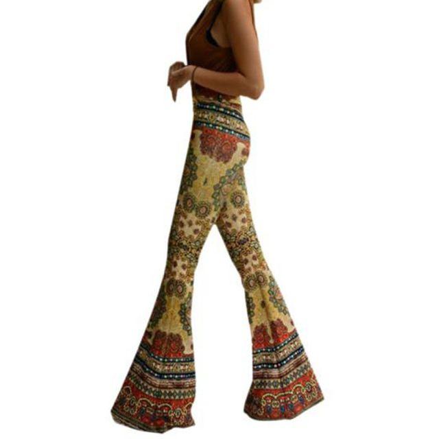 Boho. Pantalon femme wide leg Pants 2016 New Womens Slim Plus size XL Casual Ankle Length Printed Stretch Flare trousers leggings Pant