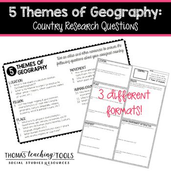 Five Themes of Geography: Country Research QuestionsIncrease your students knowledge of world geography with this easy-to-use freebie!  Students (individuals or groups) will research a specific country and answer the questions related to the five themes of geography.