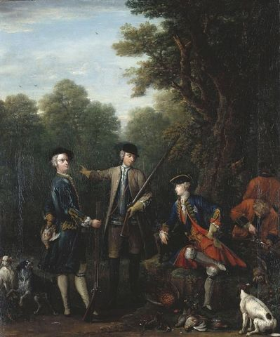 The Shooting Party: Frederick, Prince of Wales with John Spencer and Charles Douglas, 3rd Duke of Queensberry by John Wootton (c. 1682-1764). Your share link is... Test2 Close Your share link is... Test2 Close Search the Collection John Wootton (c. 1682-1764) The Shooting Party: Frederick, Prince of Wales with John Spencer and Charles Douglas, 3rd Duke of Queensberry Signed and dated 1740. Royal Collection Trust/© Her Majesty Queen Elizabeth II 2017