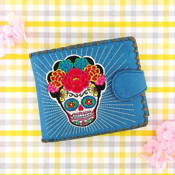 c6b9a2af68ae 97-293: Embroidered medium wallet-sugar skull in 2019 | Day of the ...