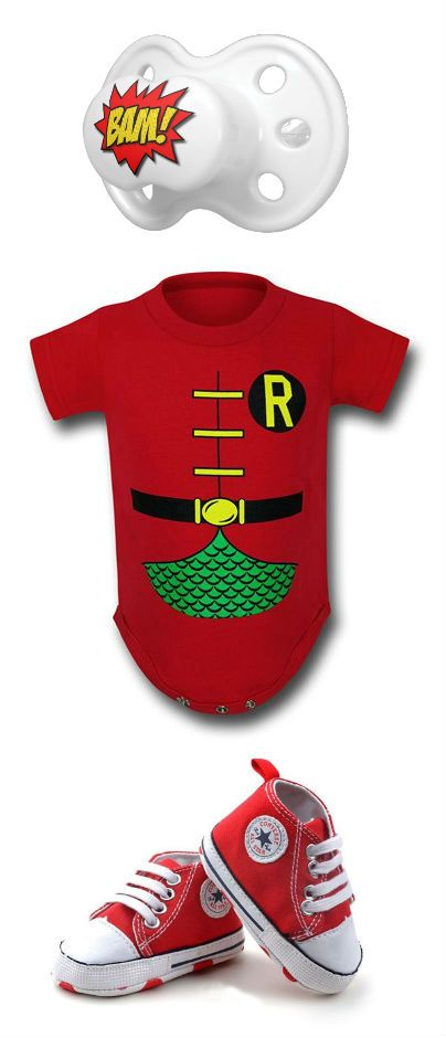 Baby Robin outfit by Mary Huth  Jumpsuit: http://www.superherostuff.com/robin/infant-bodysuits/robin-classic-costume-infant-snapsuit.html?itemcd=snaprobclsccst&utm_source=pinterest&utm_medium=social&utm_campaign=featuredoutfit Shoes: http://www.kratore.com/detail_product.php?id=127 Pacifer: http://www.zazzle.com/bam_baby_pacifiers-256296789467293026