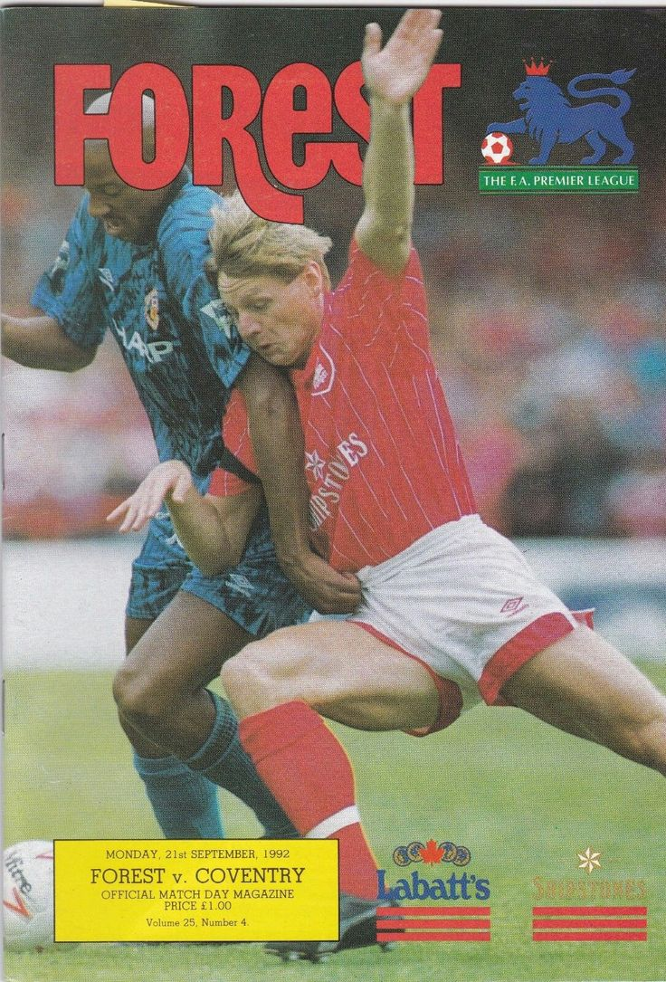 Nottm Forest 1 Coventry City 1 in Sept 1992 at the City Ground. Programme cover #Prem