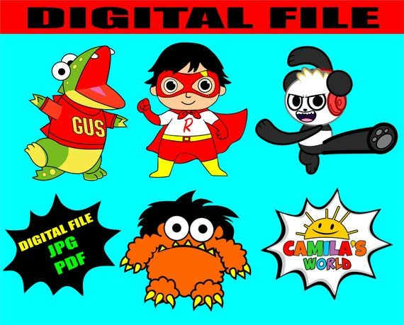 Printable Cutouts Ryan Toys Review Digital File Gus Combo Panda Ryan S World Moe The Red Titan Ryan Toys Printable Cups Etsy Gift Card