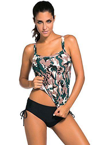 Aleumdr Womens Tankini Swimwear Camo Swimsuits Triangle Briefs XXXLargeFBA