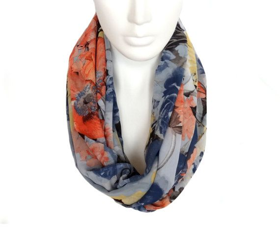 Infinity Scarf Flowers Scarf Extra Long Scarf by AnnushkaHomeDecor