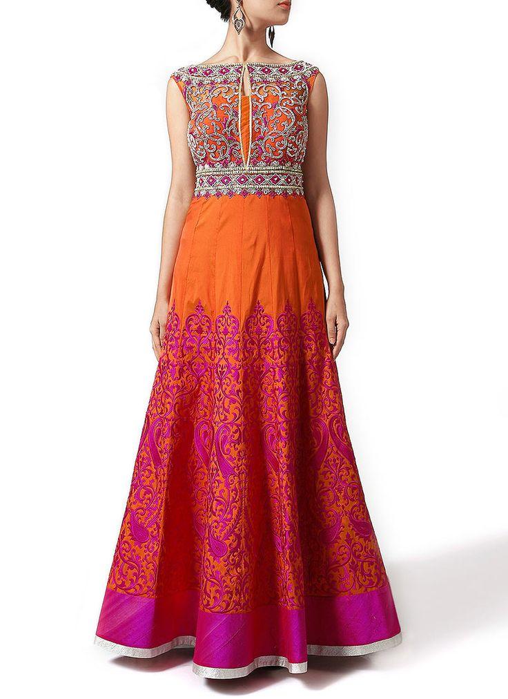 Orange Taffeta Indo Western Gown