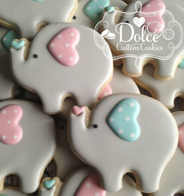 Baby Elephant Cookies Large Baby Shower Or First Birthday - 1 Dozen (12 Pcs) by Dolce Custom Cookies on Gourmly